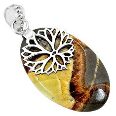Clearance Sale- 21.57cts natural brown septarian gonads 925 sterling silver pendant r91428