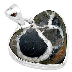 17.57cts natural brown septarian gonads 925 sterling silver pendant t13351