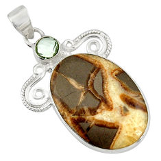 Clearance Sale- 24.00cts natural brown septarian gonads amethyst 925 silver pendant d41481