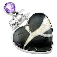 16.20cts natural brown septarian gonads amethyst 925 silver pendant t13185