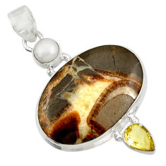 24.00cts natural brown septarian gonads amethyst pearl 925 silver pendant d41495