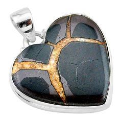 19.72cts natural brown septarian gonads heart 925 sterling silver pendant t13352