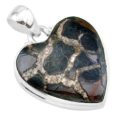 17.57cts natural brown septarian gonads heart 925 sterling silver pendant t13355