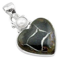 12.65cts natural brown septarian gonads pearl 925 sterling silver pendant t13183