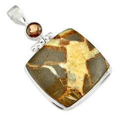 29.75cts natural brown septarian gonads smoky topaz 925 silver pendant r19601