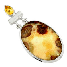 30.35cts natural brown septarian gonads yellow citrine 925 silver pendant r19602