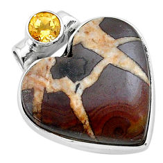 16.73cts natural brown septarian gonads yellow citrine 925 silver pendant t13182