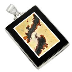 Clearance Sale- 59.81cts natural brown silver leaf jasper 925 sterling silver pendant d42781