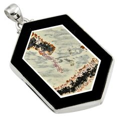 Clearance Sale- 60.45cts natural brown silver leaf jasper 925 sterling silver pendant d42782