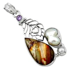 20.18cts natural brown silver leaf jasper amethyst 925 silver pendant r44529