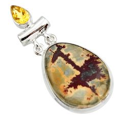 19.72cts natural brown silver leaf jasper citrine 925 silver pendant d44612