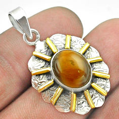5.10cts natural brown tiger's eye 925 sterling silver 14k gold pendant t55686