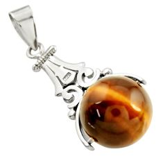 17.22cts natural brown tiger's eye 925 sterling silver pendant jewelry c9971