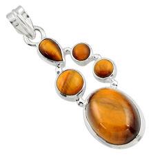 14.47cts natural brown tiger's eye 925 sterling silver pendant jewelry r43141