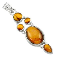 13.88cts natural brown tiger's eye 925 sterling silver pendant jewelry r43142