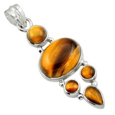 14.94cts natural brown tiger's eye 925 sterling silver pendant jewelry r43143