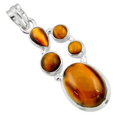 15.25cts natural brown tiger's eye 925 sterling silver pendant jewelry r43145