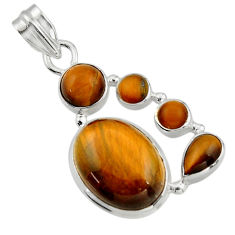 14.51cts natural brown tiger's eye 925 sterling silver pendant jewelry r43147