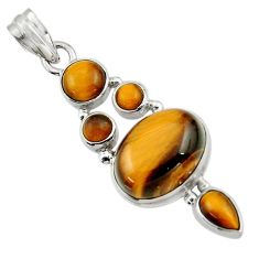 16.04cts natural brown tiger's eye 925 sterling silver pendant jewelry r43174