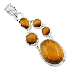 16.37cts natural brown tiger's eye 925 sterling silver pendant jewelry r43175