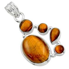 15.69cts natural brown tiger's eye 925 sterling silver pendant jewelry r43176