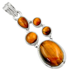 15.82cts natural brown tiger's eye 925 sterling silver pendant jewelry r43177