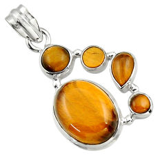 14.83cts natural brown tiger's eye 925 sterling silver pendant jewelry r43178