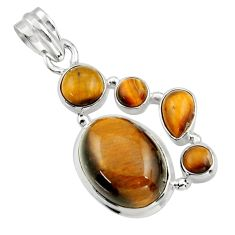 16.35cts natural brown tiger's eye 925 sterling silver pendant jewelry r43179