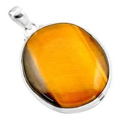 28.08cts natural brown tiger's eye 925 sterling silver pendant jewelry r53951