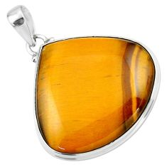 27.64cts natural brown tiger's eye 925 sterling silver pendant jewelry r53953