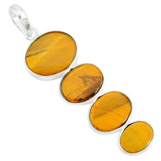 7.19cts natural brown tiger's eye 925 sterling silver pendant jewelry r87861