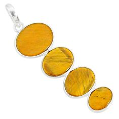 8.24cts natural brown tiger's eye 925 sterling silver pendant jewelry r87863