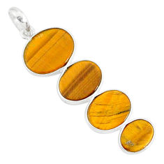 8.24cts natural brown tiger's eye 925 sterling silver pendant jewelry r87866