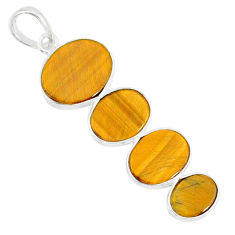 8.79cts natural brown tiger's eye 925 sterling silver pendant jewelry r87867