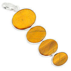 8.96cts natural brown tiger's eye 925 sterling silver pendant jewelry r87869
