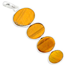 8.24cts natural brown tiger's eye 925 sterling silver pendant jewelry r87870