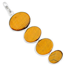 9.45cts natural brown tiger's eye 925 sterling silver pendant jewelry r87871