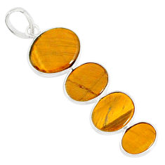 8.79cts natural brown tiger's eye 925 sterling silver pendant jewelry r87875