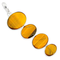 8.96cts natural brown tiger's eye 925 sterling silver pendant jewelry r87878
