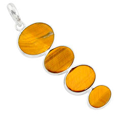 8.82cts natural brown tiger's eye 925 sterling silver pendant jewelry r87929
