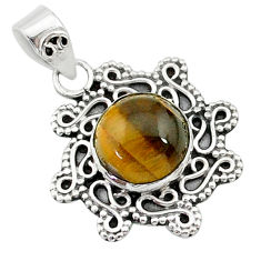 4.88cts natural brown tiger's eye 925 sterling silver pendant jewelry t14489