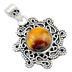 4.71cts natural brown tiger's eye 925 sterling silver pendant jewelry t14514