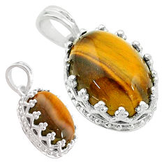 7.00cts natural brown tiger's eye 925 sterling silver pendant jewelry t20476