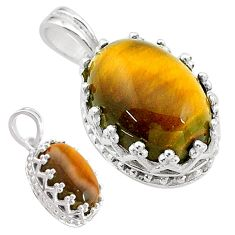 7.00cts natural brown tiger's eye 925 sterling silver pendant jewelry t20477
