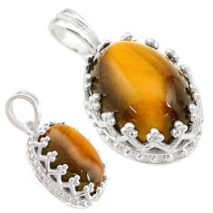 6.26cts natural brown tiger's eye 925 sterling silver pendant jewelry t20479