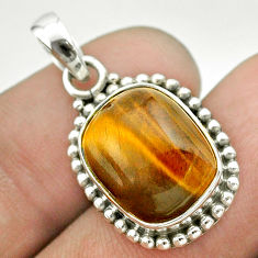 7.36cts natural brown tiger's eye 925 sterling silver pendant jewelry t53197