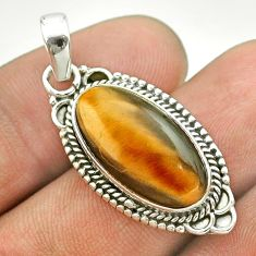 7.54cts natural brown tiger's eye 925 sterling silver pendant jewelry t53201