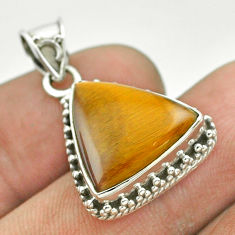9.33cts natural brown tiger's eye 925 sterling silver pendant jewelry t53204