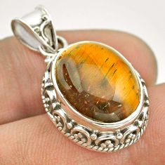 9.72cts natural brown tiger's eye 925 sterling silver pendant jewelry t53207