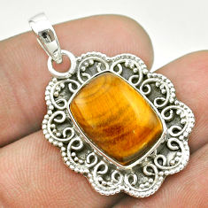 7.35cts natural brown tiger's eye 925 sterling silver pendant jewelry t53209